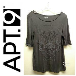 Apt. 9-Gray Embellished Tee W/Semi-Sheer Back-S